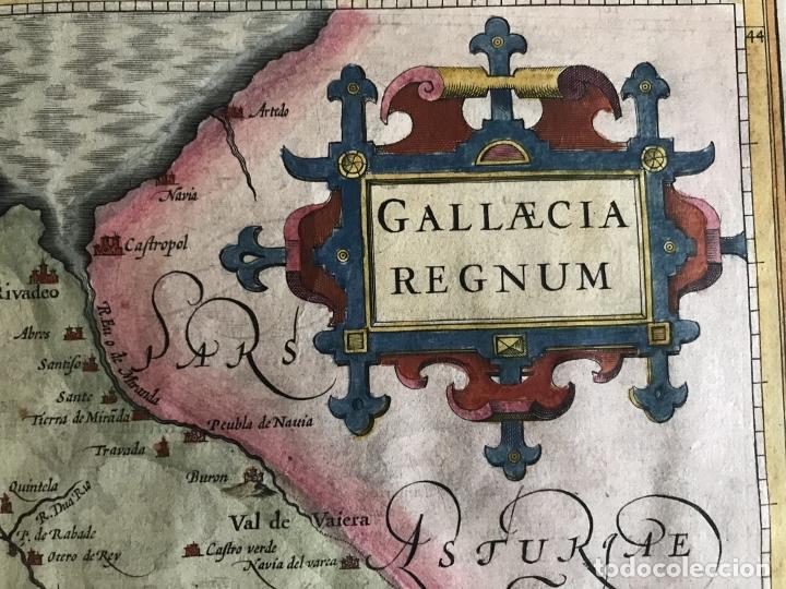 Arte: Gran mapa a color del antiguo reino de Galicia (España), hacia 1630. Mercator/Hondius - Foto 14 - 242871565