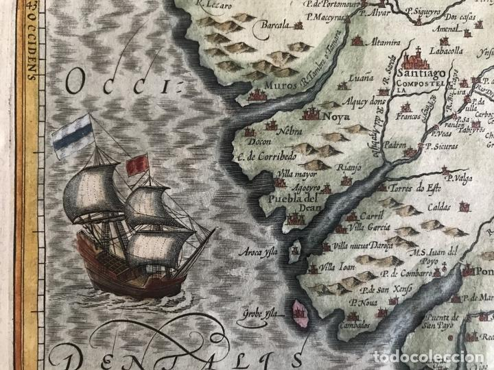 Arte: Gran mapa a color del antiguo reino de Galicia (España), hacia 1630. Mercator/Hondius - Foto 16 - 242871565