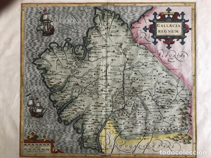 Arte: Gran mapa a color del antiguo reino de Galicia (España), hacia 1630. Mercator/Hondius - Foto 17 - 242871565