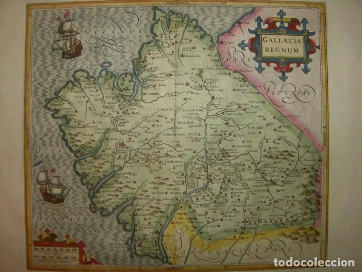 Arte: Gran mapa a color del antiguo reino de Galicia (España), hacia 1630. Mercator/Hondius - Foto 23 - 242871565