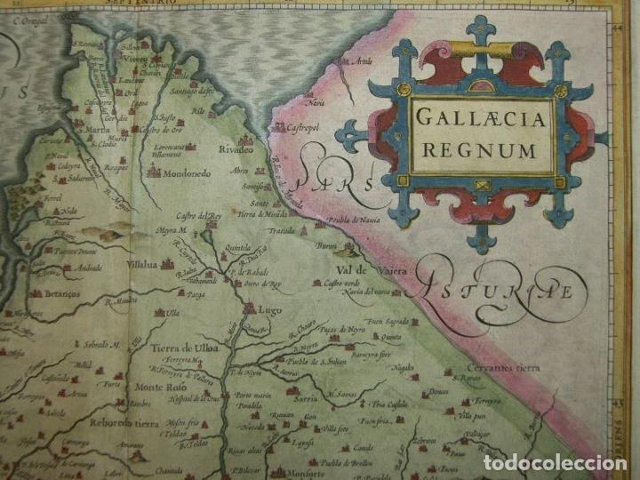 Arte: Gran mapa a color del antiguo reino de Galicia (España), hacia 1630. Mercator/Hondius - Foto 25 - 242871565