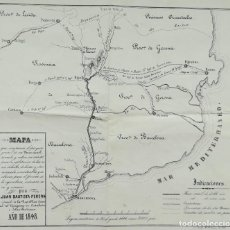 Arte: MAPA PROYECTO FERROCARRIL BARCELONA GRANOLLERS VIC RIPOLL S JUAN ABADESAS - AÑO 1848. Lote 242965140