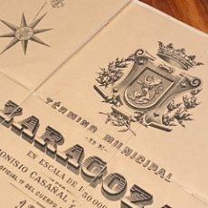 Arte: ZARAGOZA. PLANO DEL TÉRMINO MUNICIPAL, DIONISIO CASAÑAL,1892 1,36X1,05 METROS. ENTELADO Y ESTUCHADO.. Lote 243263130