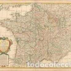 """Arte: """"CARTE DE FRANCE DRESSEE POUR L'USAGE DU ROY, EN AVRIL 1721."""", DELISLE/BUACHE. Lote 246618035"""
