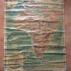 Arte: MAPA ANTIGUO AFRICA FÍSICA POR J. FOREST GEÓGRAFO -120 X 100CM. Lote 247952360