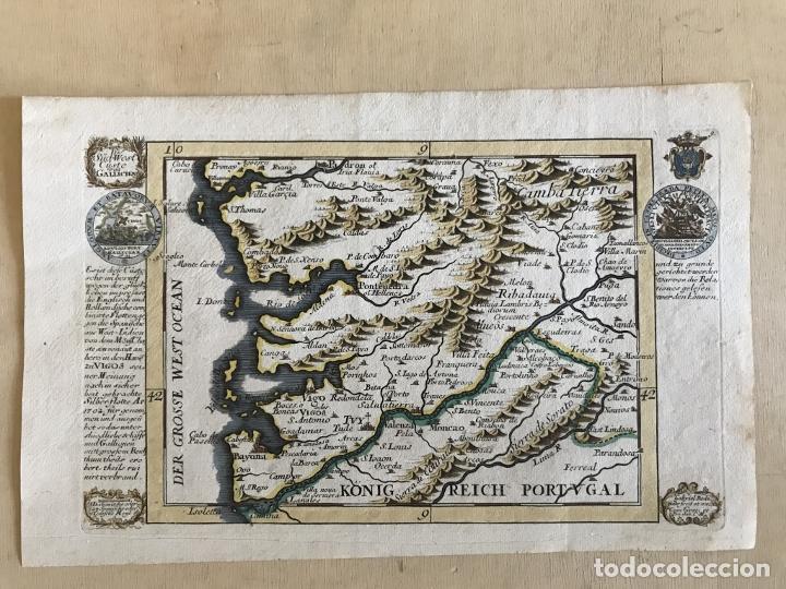 Arte: Mapa a color del sur de Pontevedra, batalla de Rande -Vigo (Galicia, España), 1715. Bodenehr - Foto 2 - 248693820