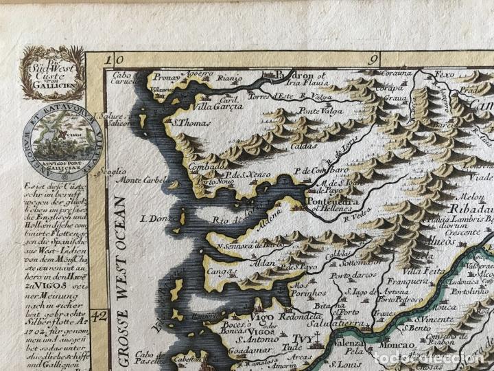 Arte: Mapa a color del sur de Pontevedra, batalla de Rande -Vigo (Galicia, España), 1715. Bodenehr - Foto 3 - 248693820