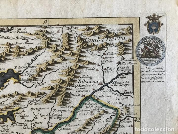 Arte: Mapa a color del sur de Pontevedra, batalla de Rande -Vigo (Galicia, España), 1715. Bodenehr - Foto 4 - 248693820