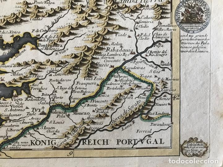 Arte: Mapa a color del sur de Pontevedra, batalla de Rande -Vigo (Galicia, España), 1715. Bodenehr - Foto 5 - 248693820