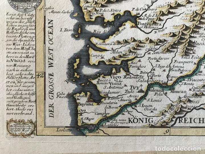 Arte: Mapa a color del sur de Pontevedra, batalla de Rande -Vigo (Galicia, España), 1715. Bodenehr - Foto 6 - 248693820