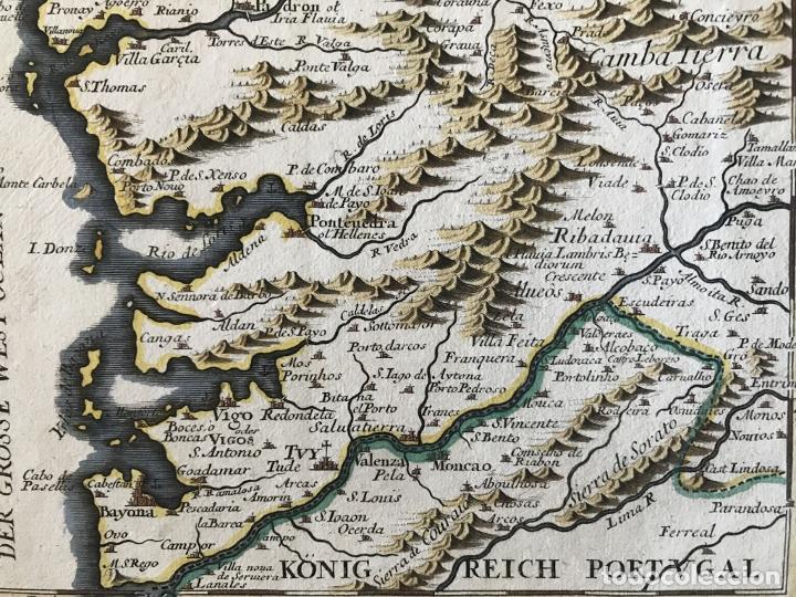 Arte: Mapa a color del sur de Pontevedra, batalla de Rande -Vigo (Galicia, España), 1715. Bodenehr - Foto 7 - 248693820