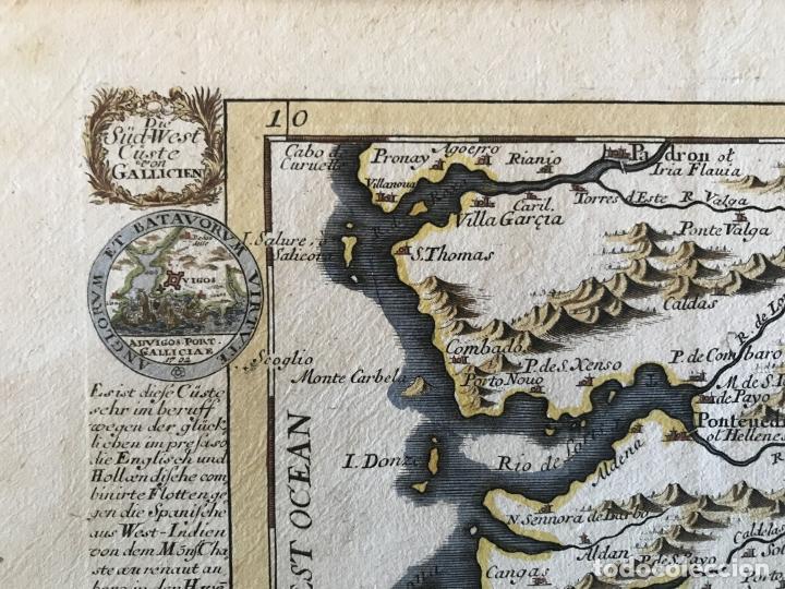Arte: Mapa a color del sur de Pontevedra, batalla de Rande -Vigo (Galicia, España), 1715. Bodenehr - Foto 9 - 248693820