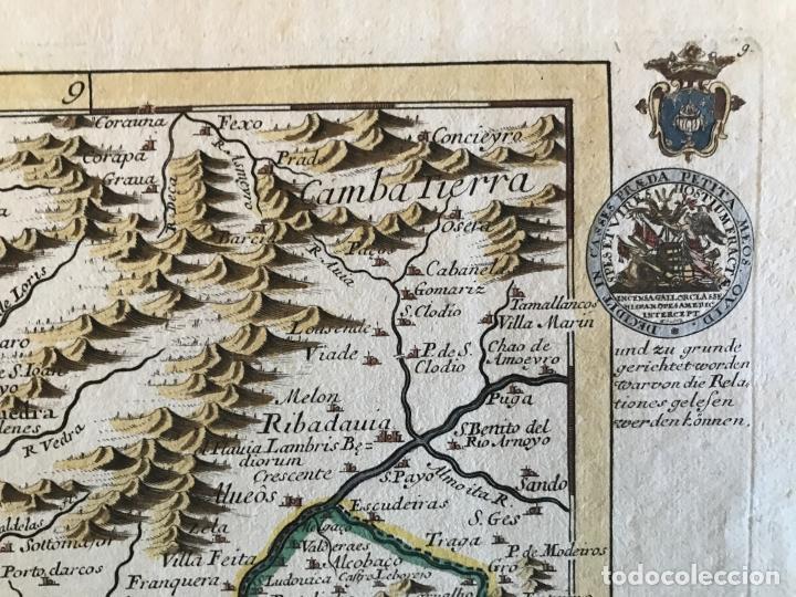 Arte: Mapa a color del sur de Pontevedra, batalla de Rande -Vigo (Galicia, España), 1715. Bodenehr - Foto 10 - 248693820