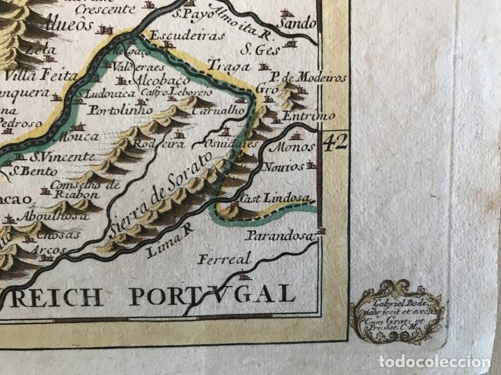 Arte: Mapa a color del sur de Pontevedra, batalla de Rande -Vigo (Galicia, España), 1715. Bodenehr - Foto 11 - 248693820