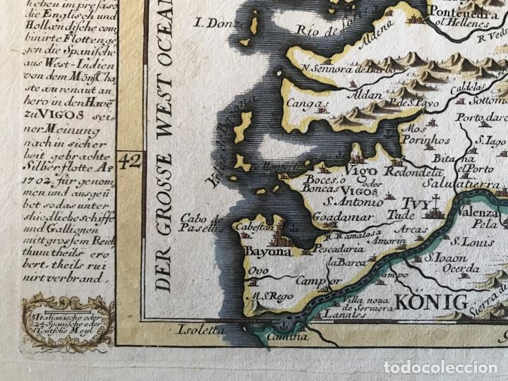 Arte: Mapa a color del sur de Pontevedra, batalla de Rande -Vigo (Galicia, España), 1715. Bodenehr - Foto 12 - 248693820