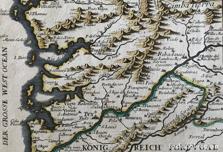 Arte: Mapa a color del sur de Pontevedra, batalla de Rande -Vigo (Galicia, España), 1715. Bodenehr - Foto 13 - 248693820
