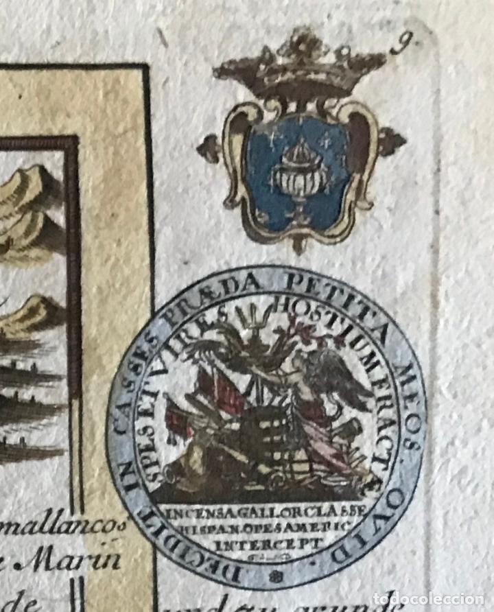 Arte: Mapa a color del sur de Pontevedra, batalla de Rande -Vigo (Galicia, España), 1715. Bodenehr - Foto 14 - 248693820