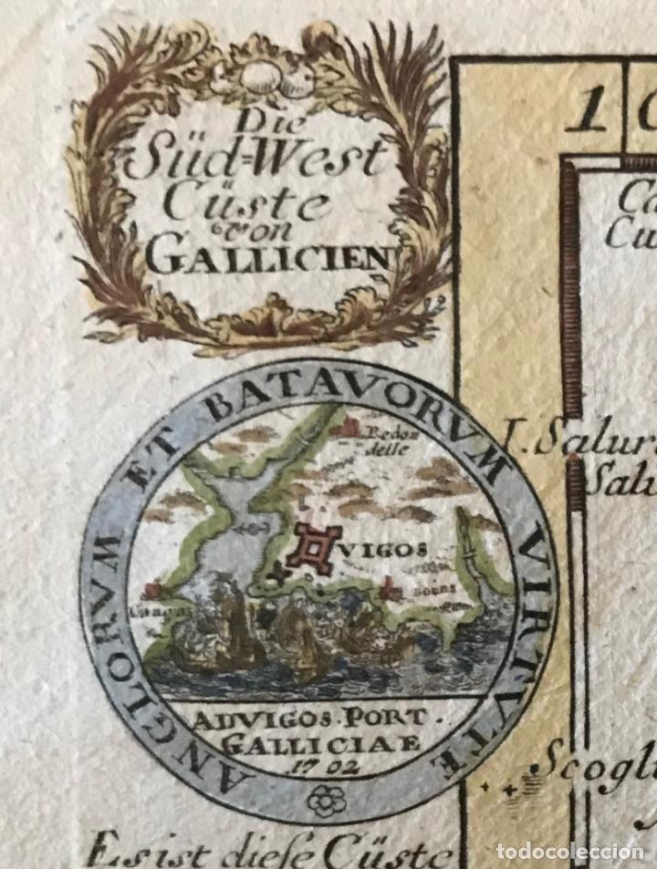 Arte: Mapa a color del sur de Pontevedra, batalla de Rande -Vigo (Galicia, España), 1715. Bodenehr - Foto 15 - 248693820