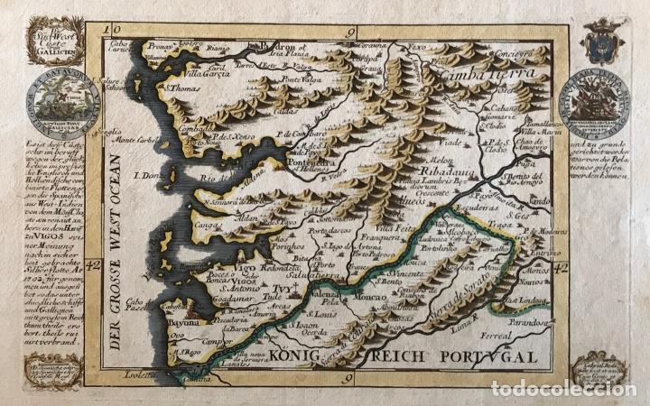 MAPA A COLOR DEL SUR DE PONTEVEDRA, BATALLA DE RANDE -VIGO (GALICIA, ESPAÑA), 1715. BODENEHR (Arte - Cartografía Antigua (hasta S. XIX))