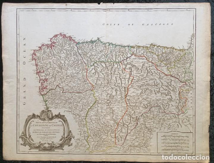 1752 - MAPA CASTILLA - LEON - GALICIA - ASTURIAS - VIZCAYA - NAVARRA 67X51,5CM VAUGONDY (Arte - Cartografía Antigua (hasta S. XIX))