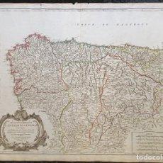 Arte: 1752 - MAPA CASTILLA - LEON - GALICIA - ASTURIAS - VIZCAYA - NAVARRA 67X51,5CM VAUGONDY. Lote 249266060