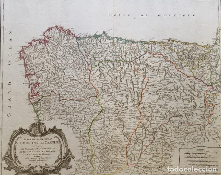 Arte: 1752 - MAPA CASTILLA - LEON - GALICIA - ASTURIAS - VIZCAYA - NAVARRA 67x51,5cm VAUGONDY - Foto 2 - 249266060