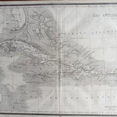 Arte: MAPA ANTIGUO LAS ANTILLAS CARIBE AÑO 1852 CON CERTIF. AUTENTIC. MAPAS ANTIGUOS AMÉRICA CARIBE. Lote 113995511