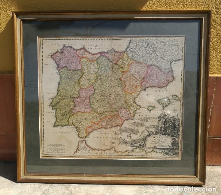 MAPA DE ESPAÑA Y PORTUGAL 1730 CARLOS III POR BAPT. HOMANN (Arte - Cartografía Antigua (hasta S. XIX))