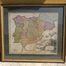 Arte: MAPA DE ESPAÑA Y PORTUGAL 1730 CARLOS III POR BAPT. HOMANN. Lote 251702125