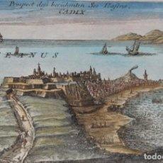 Arte: CÁDIZ, VISTA PANORAMICA POR G. BODENEHR, 1720, PROSPECT DESS BERHUMTEN SEE-HAFENS. CADIX.. Lote 252486180