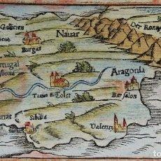 Arte: ESPAÑA Y PORTUGAL S. MÜNSTER, 1560, D´ESPAIGNE SELON LES ROYAUMES, PROVINCES, FLEUVES & CITEZ.... Lote 253217935