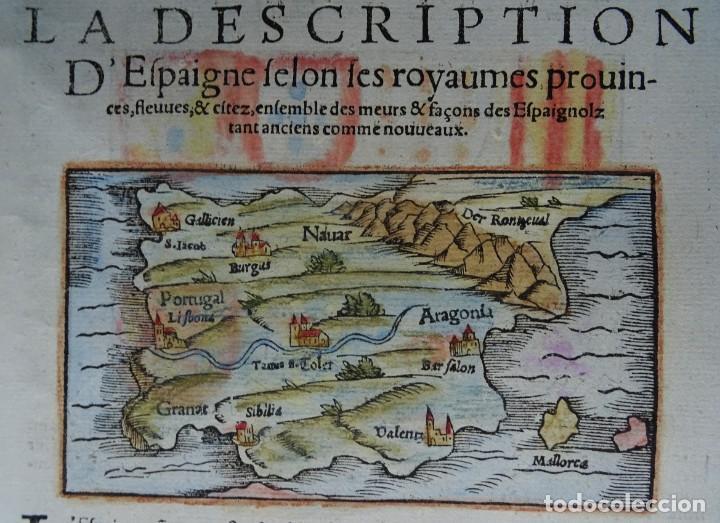 Arte: España y Portugal S. Münster, 1560, D´Espaigne selon les royaumes, provinces, fleuves & citez... - Foto 3 - 253217935