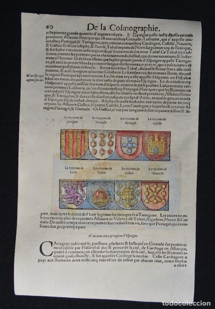 Arte: España y Portugal S. Münster, 1560, D´Espaigne selon les royaumes, provinces, fleuves & citez... - Foto 4 - 253217935