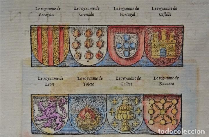 Arte: España y Portugal S. Münster, 1560, D´Espaigne selon les royaumes, provinces, fleuves & citez... - Foto 5 - 253217935