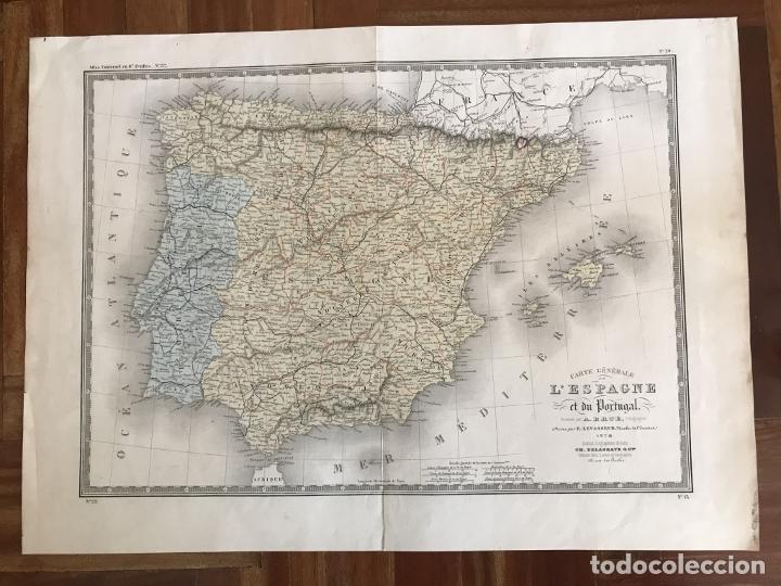 Arte: Gran mapa de España y Portugal, 1874. A.Brué/Levasseur - Foto 2 - 253539520