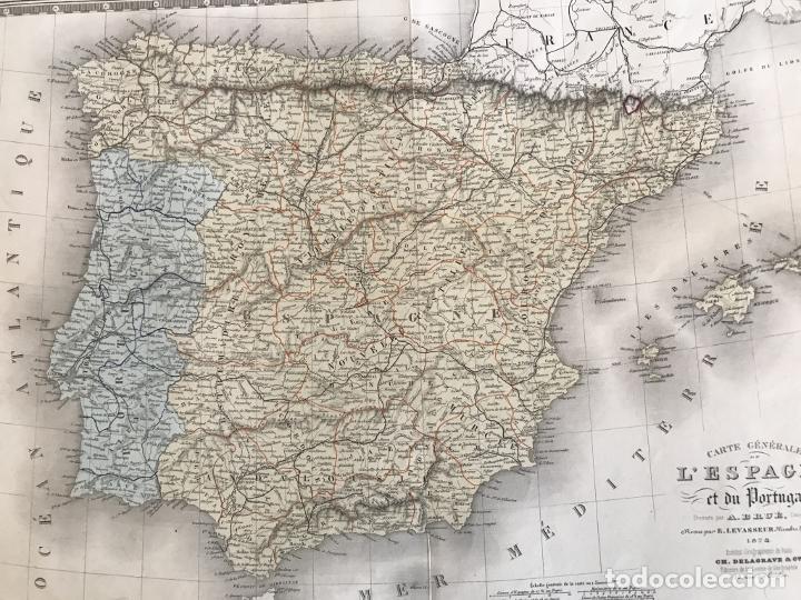 Arte: Gran mapa de España y Portugal, 1874. A.Brué/Levasseur - Foto 11 - 253539520