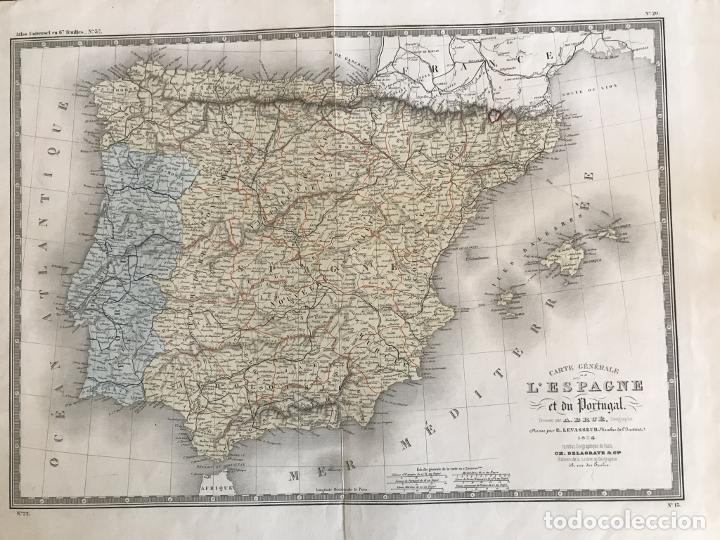 GRAN MAPA DE ESPAÑA Y PORTUGAL, 1874. A.BRUÉ/LEVASSEUR (Arte - Cartografía Antigua (hasta S. XIX))