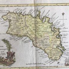 Arte: MAPA A COLOR DE LA ISLA DE MENORCA (BALEARES, ESPAÑA), 1756. LE ROUGE. Lote 253629010