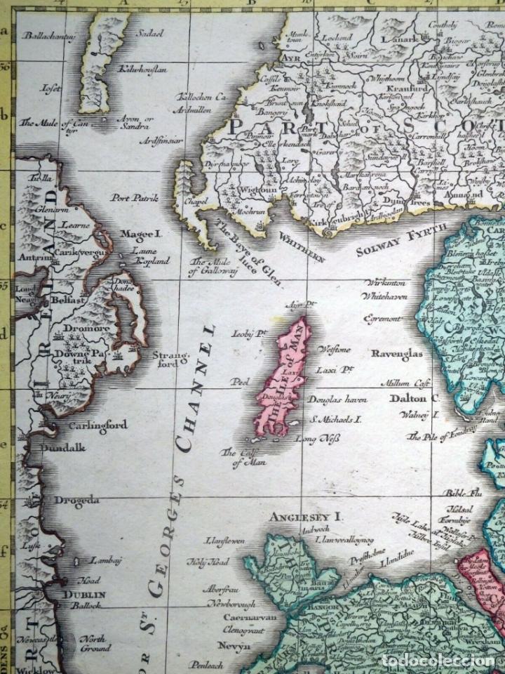 Arte: Mapa a color de Inglaterra y Gales (Reino Unidos, Europa), hacia 1730. Seutter/Lotter - Foto 3 - 253639455