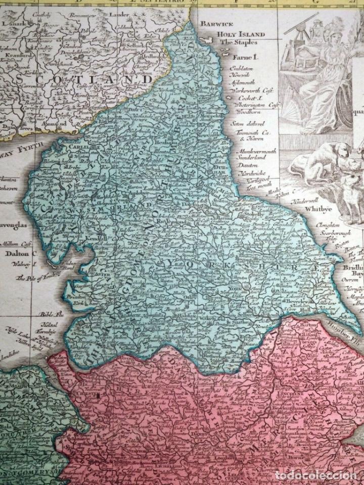Arte: Mapa a color de Inglaterra y Gales (Reino Unidos, Europa), hacia 1730. Seutter/Lotter - Foto 4 - 253639455