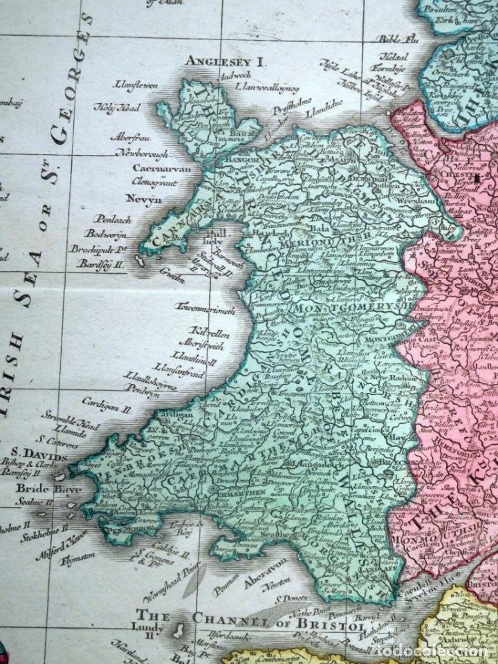 Arte: Mapa a color de Inglaterra y Gales (Reino Unidos, Europa), hacia 1730. Seutter/Lotter - Foto 5 - 253639455