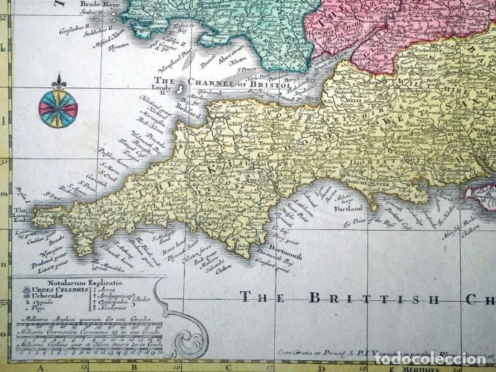 Arte: Mapa a color de Inglaterra y Gales (Reino Unidos, Europa), hacia 1730. Seutter/Lotter - Foto 6 - 253639455