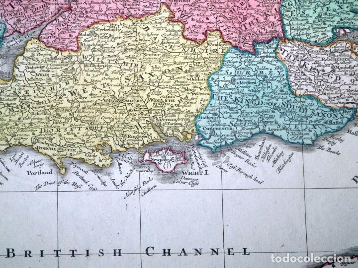 Arte: Mapa a color de Inglaterra y Gales (Reino Unidos, Europa), hacia 1730. Seutter/Lotter - Foto 7 - 253639455