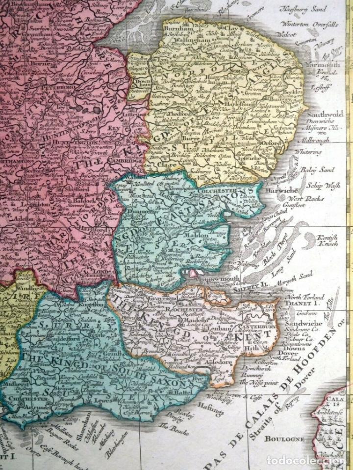 Arte: Mapa a color de Inglaterra y Gales (Reino Unidos, Europa), hacia 1730. Seutter/Lotter - Foto 8 - 253639455