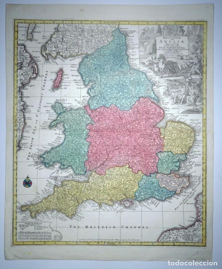 Arte: Mapa a color de Inglaterra y Gales (Reino Unidos, Europa), hacia 1730. Seutter/Lotter - Foto 10 - 253639455
