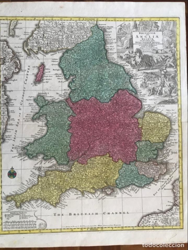 Arte: Mapa a color de Inglaterra y Gales (Reino Unidos, Europa), hacia 1730. Seutter/Lotter - Foto 11 - 253639455