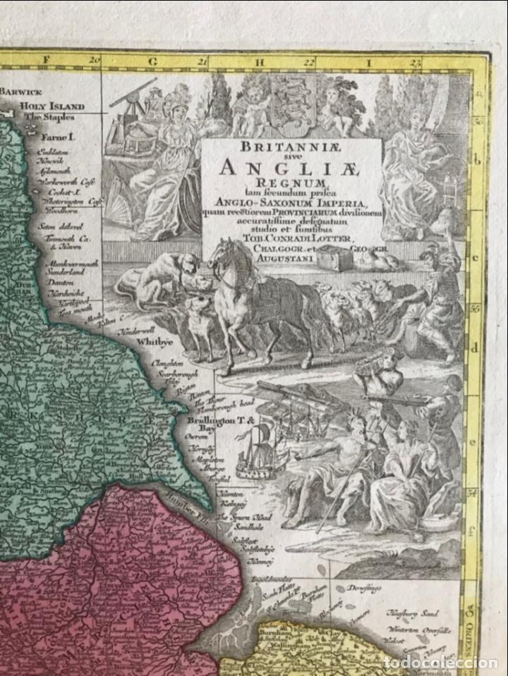 Arte: Mapa a color de Inglaterra y Gales (Reino Unidos, Europa), hacia 1730. Seutter/Lotter - Foto 12 - 253639455