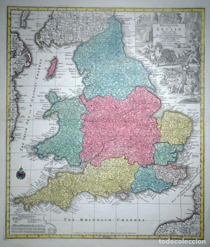 MAPA A COLOR DE INGLATERRA Y GALES (REINO UNIDOS, EUROPA), HACIA 1730. SEUTTER/LOTTER (Arte - Cartografía Antigua (hasta S. XIX))