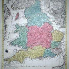Arte: MAPA A COLOR DE INGLATERRA Y GALES (REINO UNIDOS, EUROPA), HACIA 1730. SEUTTER/LOTTER. Lote 253639455
