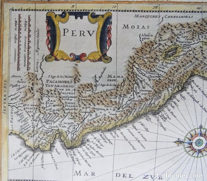 Arte: Peru, Ecuador, Bolivia, mapa por Janssonius, 1676, Peru - Foto 3 - 253777690